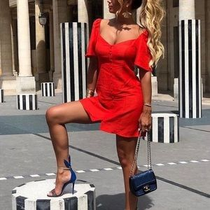 Zara Red Button Front Puff Sleeve Mini Dress